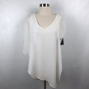 Iz Byer White Chiffon Layered Blouse S